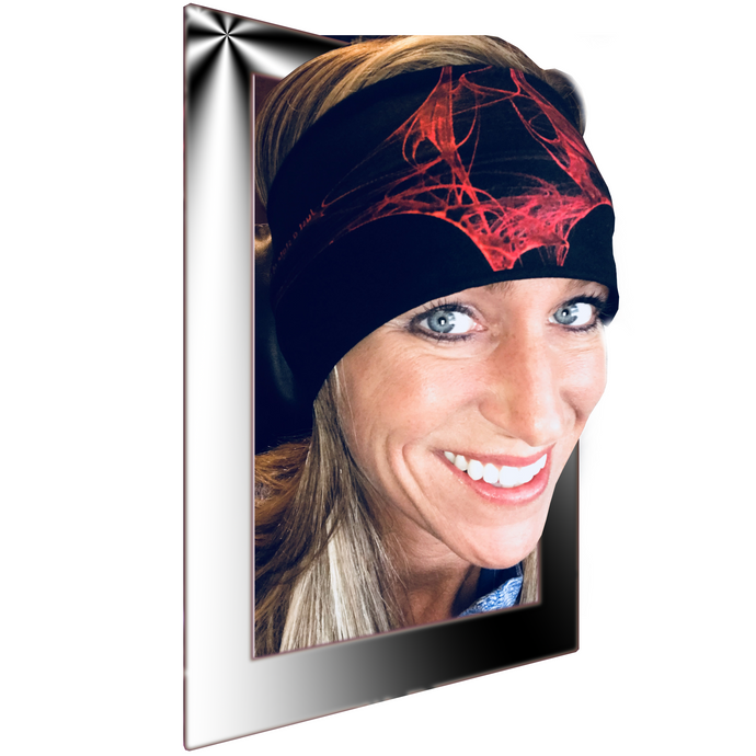 "Womens inspiring red and black biker bandana /headband with Inspirational text - ""Just a State of Mind"""