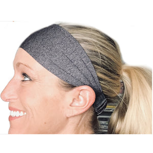 Gray / Grey / Silver Sweat Absorbing Stretch Athletic Sports Headband