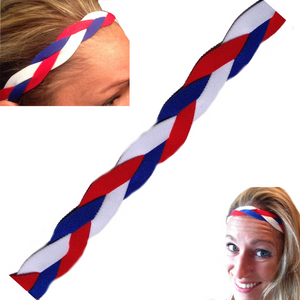 Red white blue triple braided headband