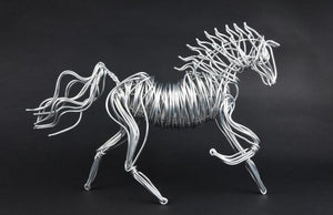 A wire horse sculpture by Drawn Metal Studios