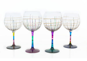 Painted martini glasses by Mindy Sand Sudios