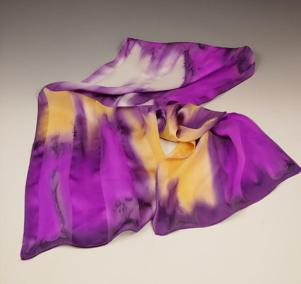 Purple Gold White  Silk Scarf