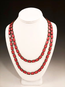 "Trilogy Red 60"" Picasso Tile Glass Necklace"