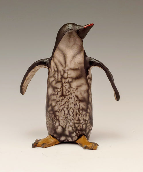 Naked Raku Penguin Sculpture