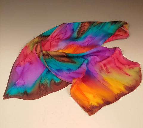 Orange Purple Turquoise Silk Scarf