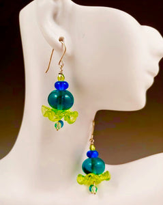 Blue Green Florette Earrings