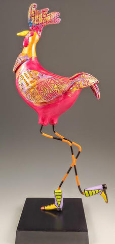 Rhode Island Red Rooster Bird Sculpture