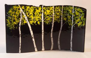 Aspen's on Black Glass Sculpture