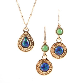 Opal & Chrysoprase  Earrings & Necklace