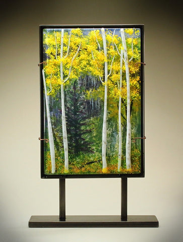Aspens in Fall Glass Frit Painting