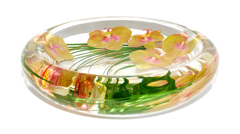 Yellow & Pink Spotted  Phalaenopsis Bowl