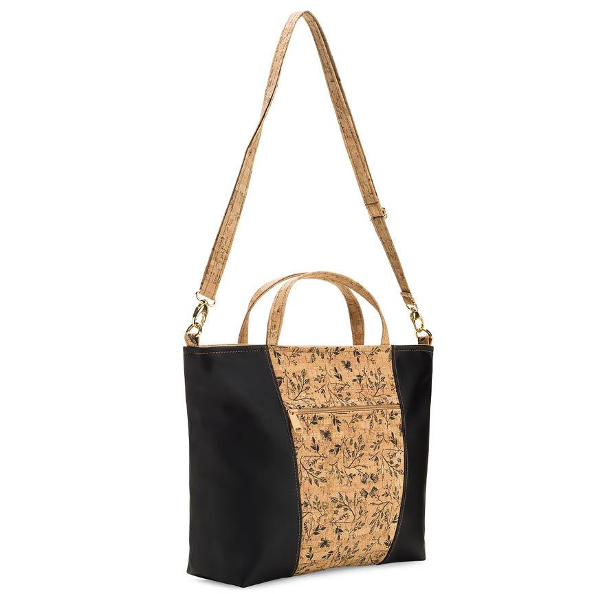 Black Leather & Floral Print Cork Tote