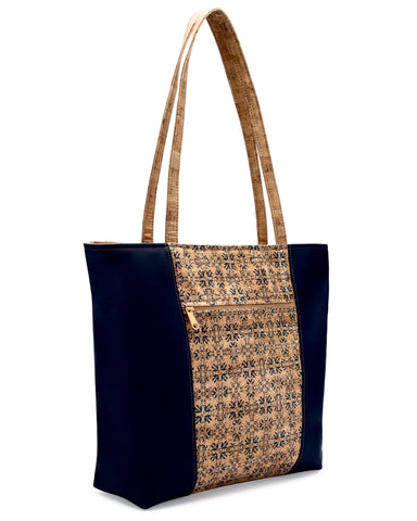 Navy Leather & Tile Print Cork Tote
