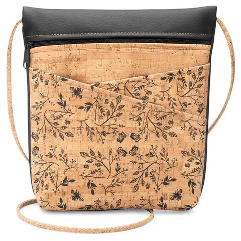 Black Floral Print Cork Cross Body Bag