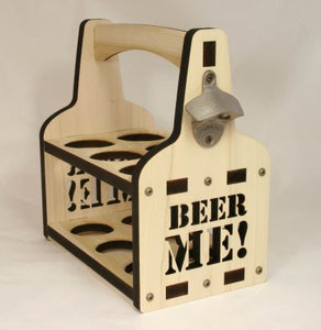 """Beer Me"" Wooden Beer Caddy"