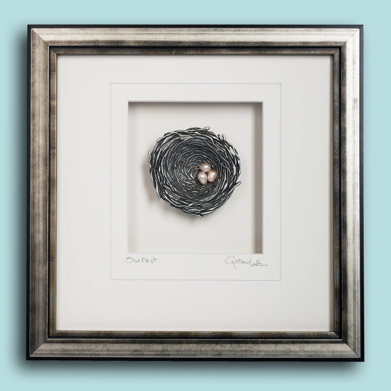 Pewter Bird's Nest, Large framed