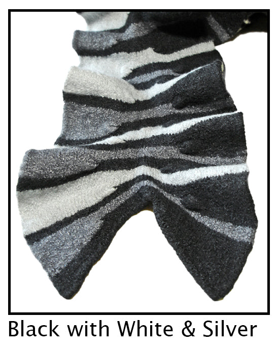 Black, White , Silver Striped Scarf