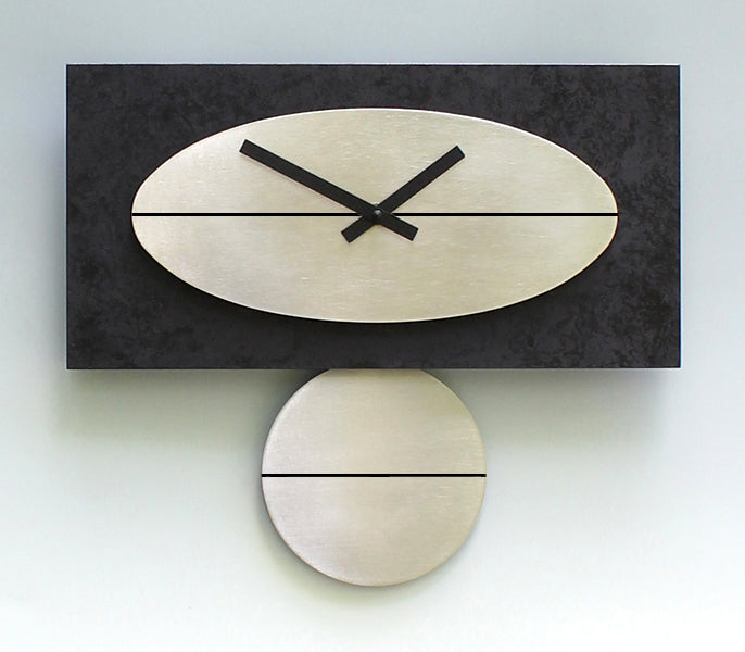 "Black and Steel 16""  Clock"