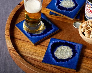 "Blue ""Geode"" Crackle Coaster Set"