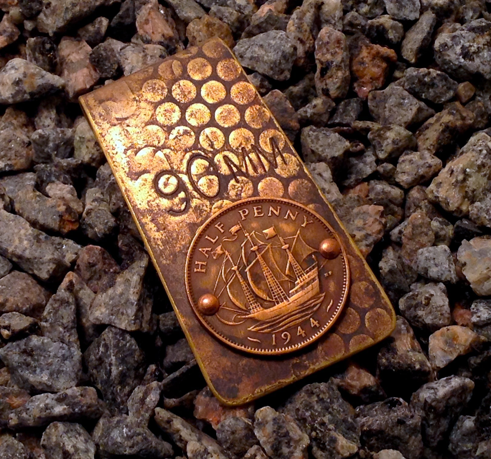 WWII Shell Casing Money Clip with British  Coin