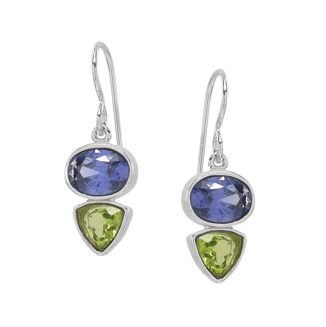 Tanzanite CZ & Peridot Earrings