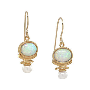White Opal Earrings with Freshwater Pearls