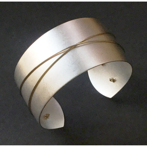 Silver Cuff with Gold Wire