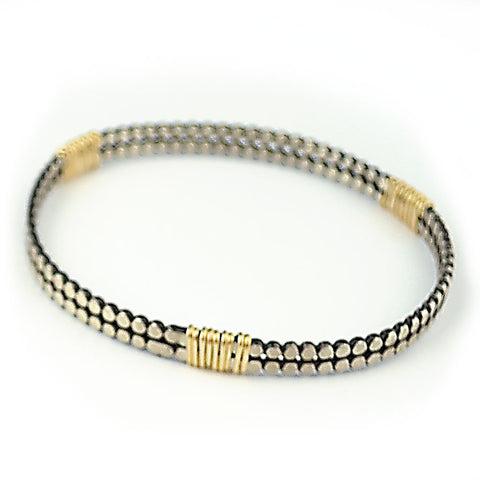 Double Beaded Silver & Gold Bangle