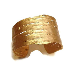 Gold Birch Bark Cuff Bracelet