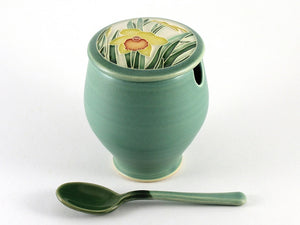 Green Daffodil Sugar Bowl