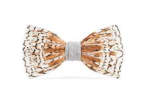 Grey Bobwhite Feather Bow Tie