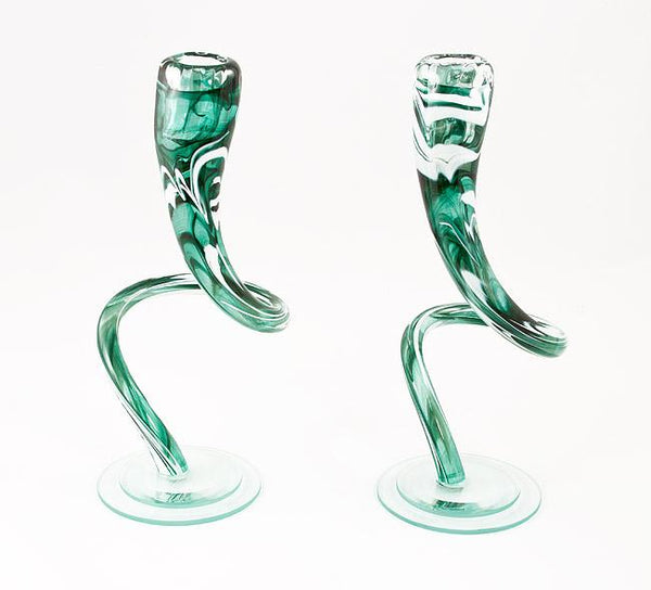 Green and White Twist Candlesticks