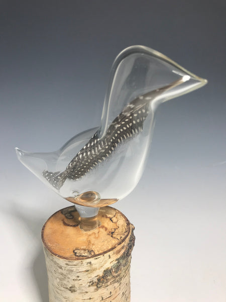 Spotted Guinea Hen Glass Feather Sculpture