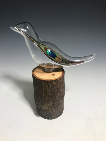 Peacock Glass Feather Sculpture