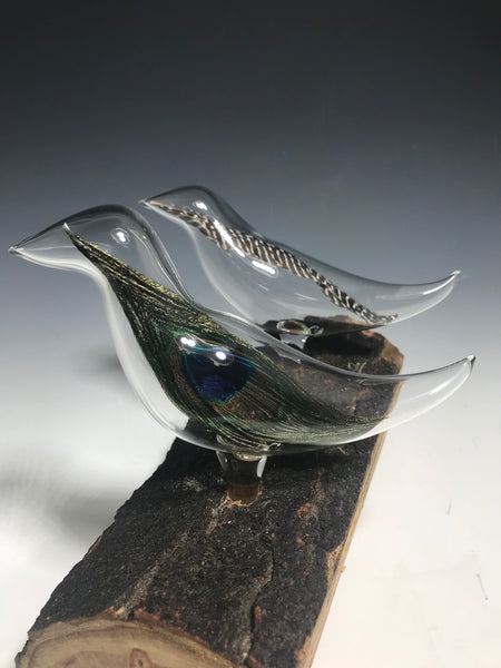 Double Birds with Glass Feathers Sculpture