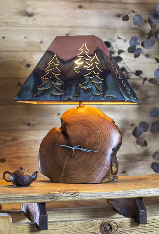 Turquoise Inlay Lamp/Copper Shade /Tree Image