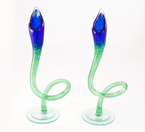 Blue and Green Jack in the Pulpit Candlesticks