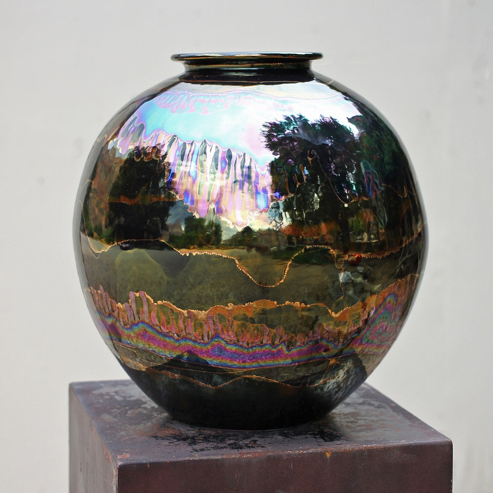Black Iridescent Medium Round Vase