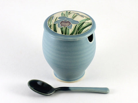 Light Blue Daffodil Sugar Bowl