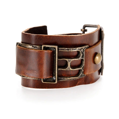 Rectangle Meta /Leather Bracelet