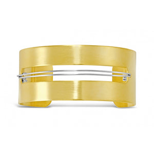 Gold Cuff with Silver Wire