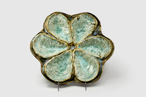 Traditional Oyster Plate Mint Crystal Glaze