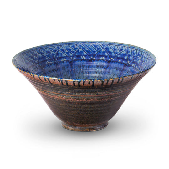 Amber Blue Lotus  Bowl