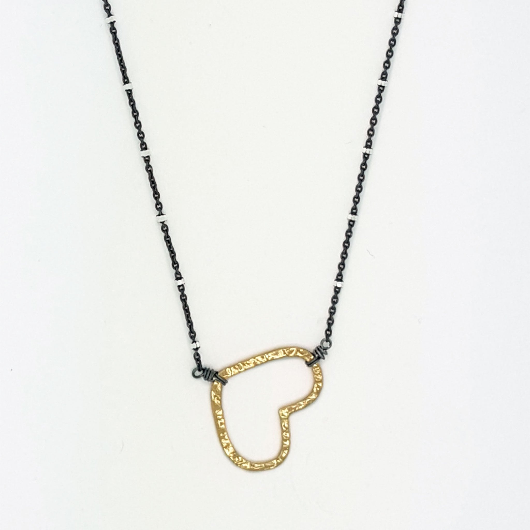 Copy of Textured Gold  Heart  Necklace