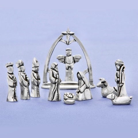 Small Pewter Nativity Set with Creche