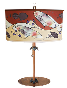 Oval Silk Lampshade with Metal Base