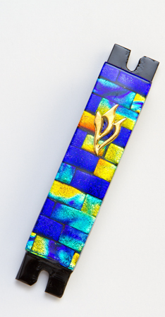 Blue & Gold Mezuzah