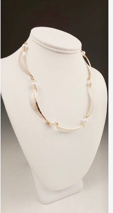 Mixed Metal &  Pearl Necklace