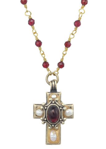 Tiny Garnet & Pearl Cross Necklace