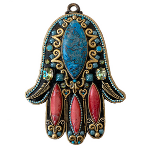 Turquoise & Red Wall Hamsa